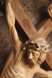 Jesus Christ crucified (an ancient wooden sculpture) Stock Images
