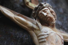 Jesus Christ crucified (an ancient wooden sculpture) Royalty Free Stock Image