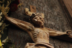 Jesus Christ crucified (an ancient wooden sculpture) Stock Photography