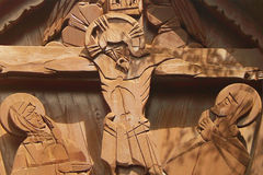 Jesus Christ crucified (an ancient wooden sculpture). (details Royalty Free Stock Images