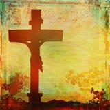Jesus Christ crucified , grunge background. Raster illustration Royalty Free Stock Images