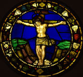 Jesus Christ crucified. A photo of a stained glass window  with Jesus Christ crucified Stock Photography