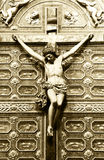 Jesus christ crucified with reliquary, vintage sepia Stock Photos