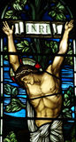 Jesus Christ crucified in stained glass Royalty Free Stock Image