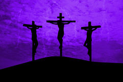 Jesus Christ crucified. Three crosses on a hill royalty free illustration