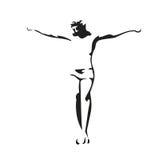Jesus Christ crucified. Vector black illustration on white background Royalty Free Stock Photo