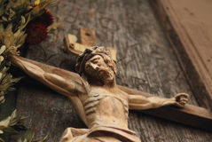 Jesus Christ crucified (a wooden sculpture) Stock Image