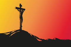 Jesus Christ Crucifixion hand drawn vector. Illustration sketch Stock Photo