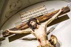 Jesus Christ crucifixion inside of an abbey Royalty Free Stock Photography