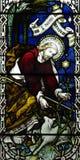 Jesus Christ den bra herden i målat glass Royaltyfri Bild