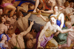 Jesus Christ - Descent of Christ into Limbo. Agnolo Bronzino - Descent of Christ into Limbo - detail. Renaissance painting from Basilica of Santa Croce. Florence Royalty Free Stock Photo