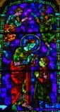 Jesus Christ die kerkgemeenschap geven - Gebrandschilderd glas Royalty-vrije Stock Foto's