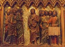 Jesus Christ Disciples Wooden Notre Dame Paris France Fotografia Stock Libera da Diritti