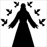 Jesus Christ & Doves Silhouette. Jesus Christ surrounded by doves of peace in silhouette form, vector Royalty Free Stock Photo