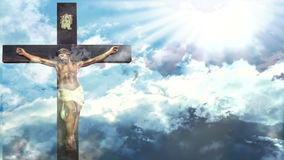 Jesus Christ Easter. Jesus Christ resurrection in Easter, cross of Jesus Christ on sky background with moving clouds a shining celestial light from above stock video footage