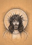 Jesus Christ Easter traditional illustration sketch. An artistic sketch portrait of Jesus Christ with a thorn crown, 2018 Royalty Free Stock Photography
