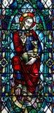 Jesus Christ el buen pastor en vitral Imagen de archivo libre de regalías