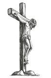 Jesus Christ, el hijo de dios en una corona de espinas en su cabeza, un símbolo del ejemplo dibujado mano del vector del cristian libre illustration