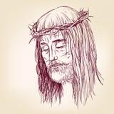 Jesus Christ, el hijo de dios en una corona de espinas en su llustration dibujado headhand del vector Imágenes de archivo libres de regalías