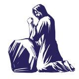 Jesus Christ, el hijo de dios que ruega en el jardín de Gethsemane, símbolo del bosquejo del ejemplo del vector del cristianismo libre illustration