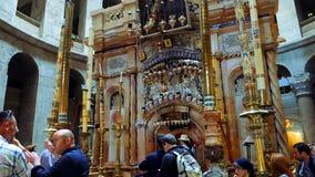 Jesus Christ Empty Tomb in Jerusalem. Jerusalem, Israel - May 25, 2017: Jesus Christ empty tomb in Jerusalem in the Holy Sepulcher Church. The Holy Sepulchre stock image