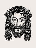 Jesus Christ enfrenta ilustração stock