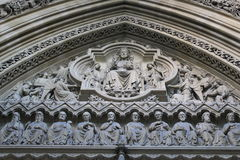 Jesus Christ. Enthroned above the entrance to Westminster Abbey Royalty Free Stock Image