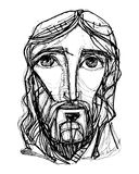 Jesus Christ expressionist Face Stock Photography