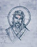 Jesus Christ Face bij zijn Hartstochtsillustratie stock illustratie
