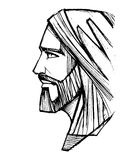 Jesus Christ Face-Bleistiftillustration Stockfoto