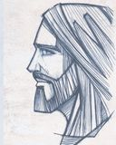 Jesus Christ Face-Bleistiftillustration Lizenzfreie Stockbilder