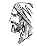 Jesus Christ Face blyertspennaillustration Arkivfoto