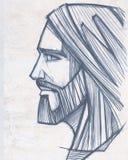 Jesus Christ Face blyertspennaillustration Royaltyfria Bilder