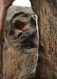 Jesus Christ Face Carved en Cedar Wood Fotografía de archivo libre de regalías