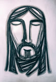 Jesus Christ Face charcoal illustration Stock Images