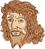 Jesus Christ Face Crown Thorns Etching. Etching engraving handmade style illustration of Jesus Christ face with crown of thorns set on  white background Stock Image