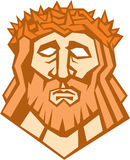 Jesus Christ Face Crown Thorns Retro Stock Photos