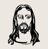 Jesus Christ Face, diseño del vector del arte Imagen de archivo libre de regalías