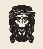 Jesus Christ face. God, religion symbol. Art vector illustration Royalty Free Stock Photos