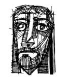 Jesus Christ Face Illustration stock illustratie