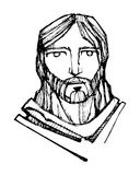 Jesus Christ Face illustration Royalty Free Stock Images