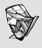 Jesus Christ face side. Hand drawn vector illustration or drawing of Jesus Christ facing side Stock Images
