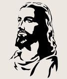 Jesus Christ Face Silhouette , art vector design. Jesus Christ with the Sacred Heart, art vector design royalty free illustration