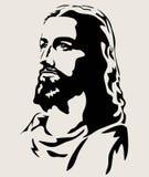 Jesus Christ Face Silhouette konstvektordesign royaltyfri illustrationer