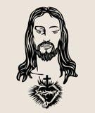 Jesus Christ Face Sketch, diseño del vector del arte ilustración del vector
