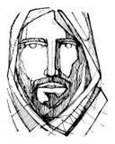 Jesus Christ Face-Tintenillustration Stockfotografie