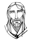 Jesus Christ Face-Tintenillustration Lizenzfreie Stockfotografie