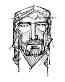Jesus Christ Face-Tintenillustration Stockfoto