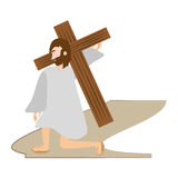 Jesus christ falls first time - via crucis station Royalty Free Stock Image