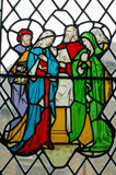 Jesus Christ family stained glass window. Victorian stained glass window showing Jesus Christ with the Virgin Mary and St Joseph together with St Martha and Royalty Free Stock Photography